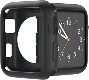 U191U Compatible with Apple Watch Case 38mm 42mm 40mm 44mm, Soft TPU Protective Bumper Cover for iwatch Series 5 4 3 2 Case (Black, 42mm)