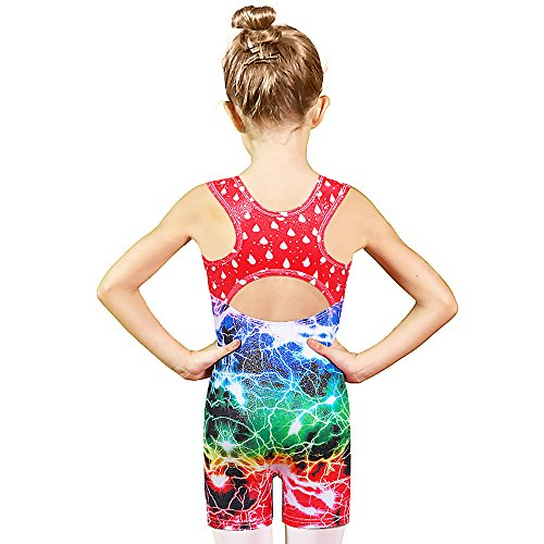BAOHULU Leotards for Girls Gymnastics Tank Unitards with Shorts for Little Girl One-Piece Tumbling Dancing Thigh Length Biketards 3-10T (Multicolor Lightning, 130(6-7Y))
