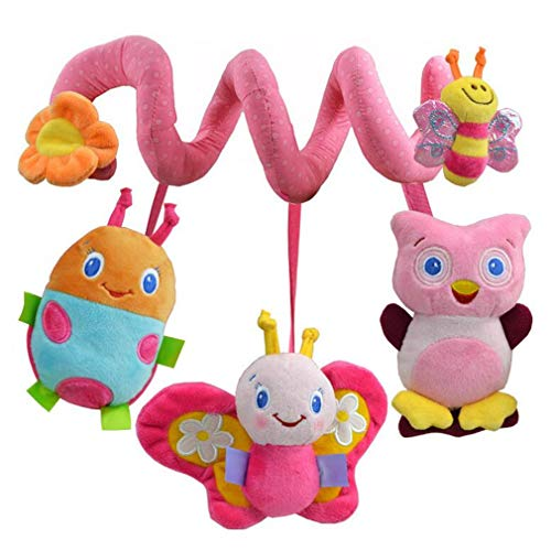 Crib Stroller Soft Toys, TheBigThumb Colorful Insects Owl Baby Plush Hanging Toys Baby Girls Spiral Activity Hanging Toys Pink Butterfly Stroller Toy for Infants Toddlers