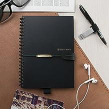 """[2018 UPGRADED] Newest Version Elfinbook Smart Wirebound Notebook, Cloud Storage App Notebook, Reusable 500+, Erasable, Water-to-Erase (A5, 5.8""""x8.4"""")"""