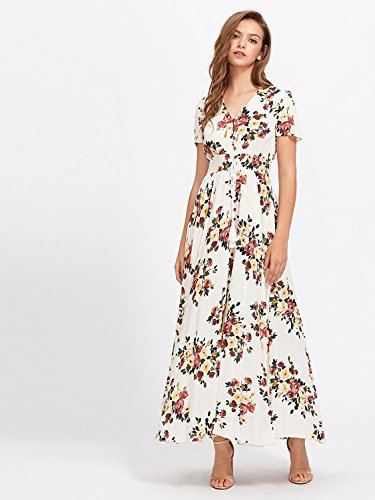 Milumia Women Button Up Floral Print Party Split Flowy Maxi Dress