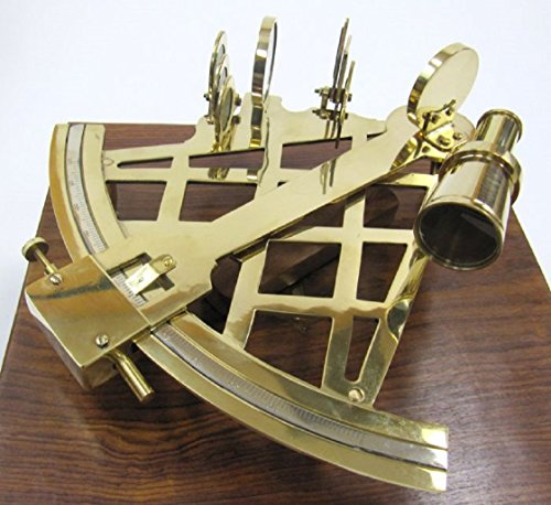 Large-Brass-Sextant-W-Wooden-Box-10-Nautical-Navigation-Collection