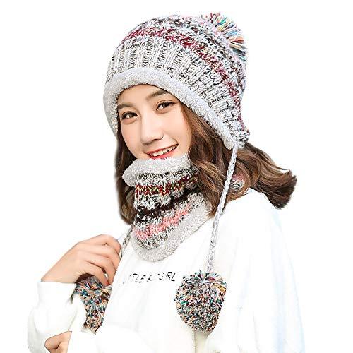e Lined Women Knit Beanie Scarf Set Girl Winter Ski with Earflap Pompom Hat (Gray) ()