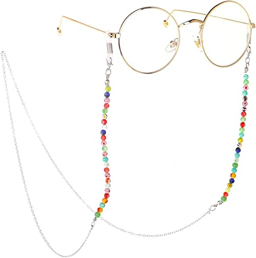 EYE GLASS Beaded CORD Chain Necklace Jewelry Strap YOU CHOOSE DESIGN Color