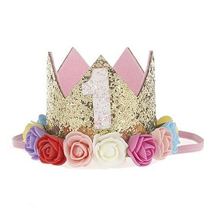 NiceButy la niña de la Princesa Corona Diadema 1 año del cumpleaños Tiara  Sombrero con Flores 208a5578af5