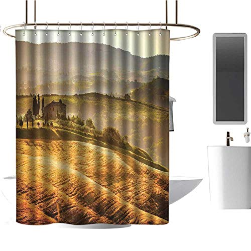 (Qenuan Waterproof Fabric Shower Curtain Tuscan,Siena Tuscany Retro Farm House Trees Old Path Country Landscape on Sunset,Ginger and Green,Polyester Bathroom Shower Curtain Set with Hooks 47