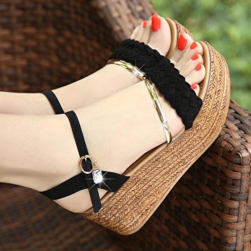 SHOESHAOGE Una Pendiente con Sandalias Mujer Irregular con Zapatos Romano Alumnas Zapatos Bizcocho Gruesos Zapatos Zapatos High-Heeled,Eu38 EU37