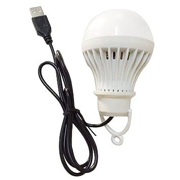 Gosear 5W USB LED Luz Lámpara Bombilla con Cable Luz de Noche sin Interruptor para Portátiles al Aire Libre Hogar Camping Emergencia,Blanco: Amazon.es: ...