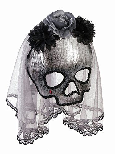 Forum Novelties Unisex-Adults Ghostly Spirit Half Mask W/Vei, Black, (Zombie Bride Costume Accessories)