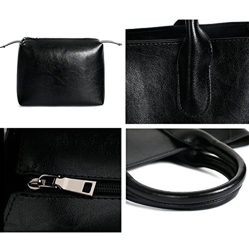 ladies Purse Fashion Holder b Black Tote Handbags Shoulder Leather Ephraim Bag for Card Handbags Bag 4pcs qEfRnBnUpw