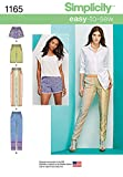 Simplicity Easy-to-Sew Pattern 1165 Misses Slim Pull-on Pants, Long, or Short Shorts Sizes 6-8-10-12-14