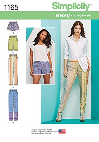 Simplicity Easy-to-Sew Pattern 1165 Misses Slim Pull-on Pants, Long, or Short Shorts Sizes 6-8-10-12-14 by Simplicity