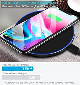 Pansonite Wireless Charger, Fast Wireless Charging Pad for Apple iPhone X iPhone 8 iPhone 8 Plus Samsung Galaxy Note 8 S8 S8 Plus S7 Edge S7 S6 Edge Plus and All Qi-Enabled Devices-Ultra Slim
