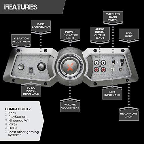 "X Rocker 2.1 Sound Wireless Bluetooth 4 Speaker Video Gaming Chair with Pedestal Base & High Tech Audio 4"" Subwoofer - Tilt & Swivel Design w/ Lumbar Support, Pivoting Arm Rests -Black/Fuchsia 5129101"