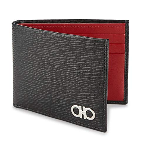 - Salvatore Ferragamo Men's International Bifold Revival Leather Wallet with Contrast Interior, Black/Red