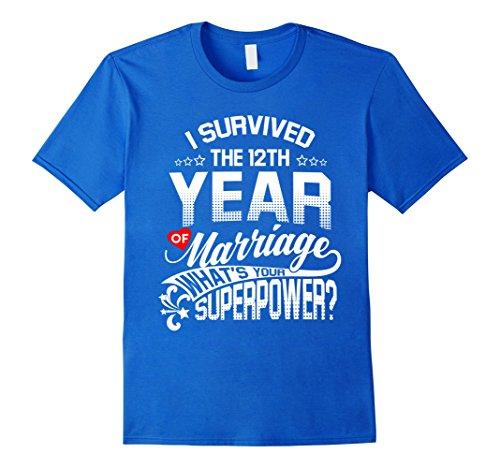 Men's Anniversary Gift 12th 12 years Wedding Marriage T-Shirt 2XL Royal Blue