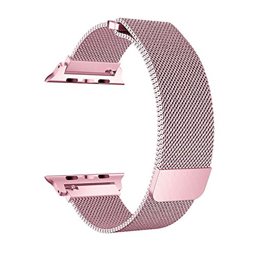 BRG Compatible Apple Watch Band 42mm, Stainless Steel Mesh Milanese Loop Adjustable Magnetic Closure Replacement iWatch Band Compatible Apple Watch Series 3 2 1 (42mm Rose Gold) by BRG (Image #6)