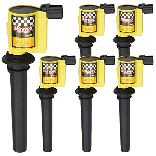 Bravex Ignition Coils 15% More Energy for Various Ford - Escape Taurus Five Hundred - Mazda - Tribute - Mercury 3.0L V6 fits C1458 FD502 DG500 DG513 Set of 6 - Upgrade (Yellow)