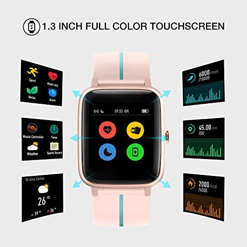 """UMIDIGI GPS Smart Watch, Activity Fitness Tracker with Heart Rate Monitor, 1.3"""" Touch Screen Pedometer Smartwatch for Mens Womens, 5ATM Waterproof Step Counter Compatible with iPhone, Samsung, Android 2"""
