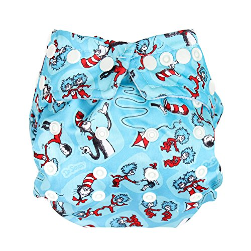 Bumkins Snap-in-One Cloth Diaper, Cat in The Hat (Diaper Cover Bumkins)