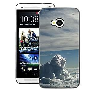 A-type Arte & diseño plástico duro Fundas Cover Cubre Hard Case Cover para HTC One M7 (Sky Clouds Lion Blue White God Majestic)