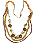JousJous Gold Brass Metal Chain, Brown Wood Baubles, Orange Beads and Purple Cord Happy Golden Days Handmade Necklace