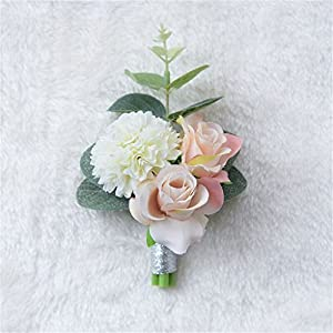 Flonding Romantic Boutonniere Buttonholes Bridegroom Groom Groomsman Men's Boutonnieres Best Man Boutineer with Pin for Wedding Prom Homecoming Decoration 24