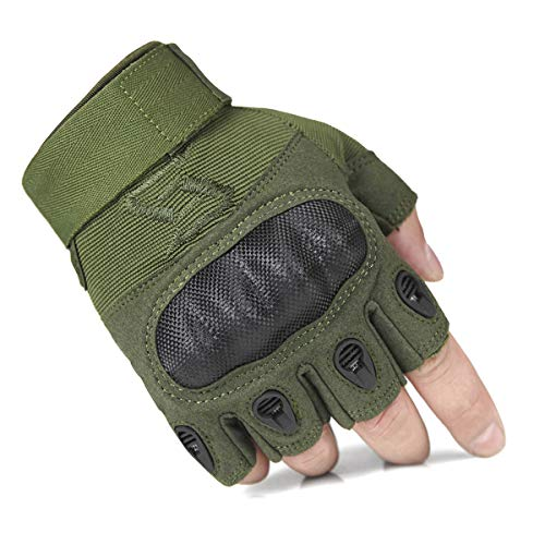 FREE SOLDIER Tactical Gloves for Men Military Hard Knuckle Outdoor Cycling Gloves Armor Gloves(Army Green Fingerless X-Large) ()