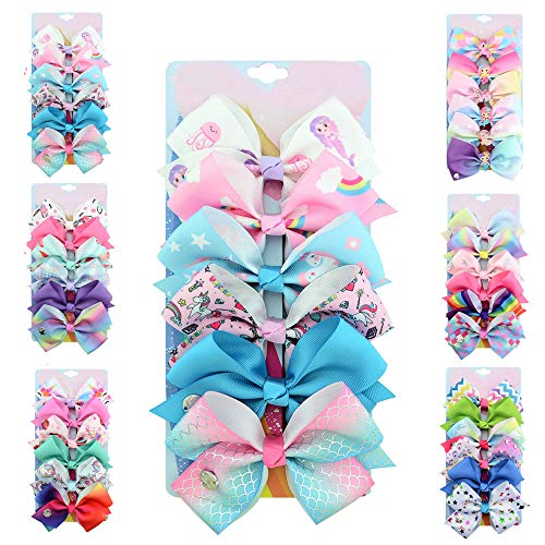[6-Pack] 5 Inch Cute Mermaid Unicorn Rainbow Colorful Hair Bows Clip Accessories for Toddlers Girls (Mermaid Series)