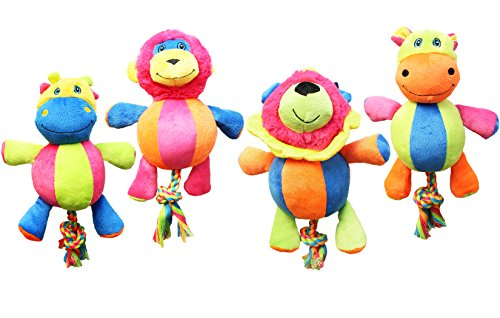Boss Pet WB11312-9-B Assorted Pugslie's Bright Plush Whimsy Characters with Rope Tail Dog Toy
