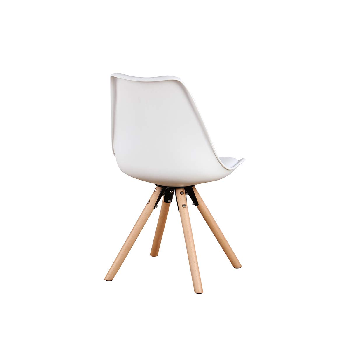 GroBKau Set di 4 Sedie da Pranzo con Sedile Imbottito Base in Metallo Solido e Gambe in Legno di Faggio Bianca