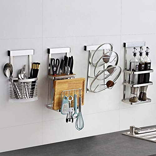 Stainless Steel Kitchen Rack, Punch-Free Wall Hanging Pot Cover Cutting Board/Suitable for Seasoning Tank Oil Dispenser Storage Spice Rack,D ()