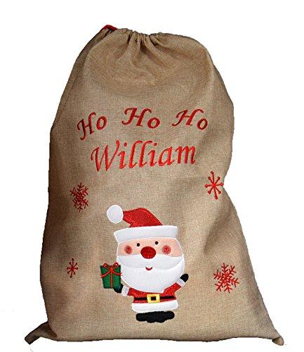 Sac de Noël à Personnaliser en toile de jute avec un motif de Père Noël