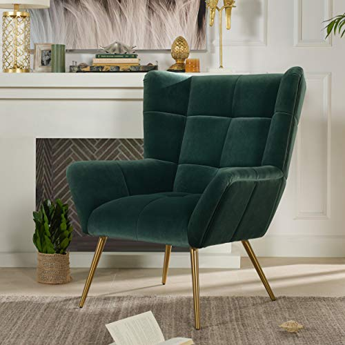 Jennifer Taylor Home Gerard Mid-Century Modern Tufted Armchair, Forest Green