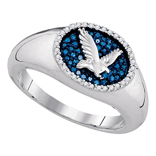 Diamond Ring Cluster Mens (10kt White Gold Mens Round Blue Color Enhanced Diamond Oval Cluster Eagle Ring Cttw)
