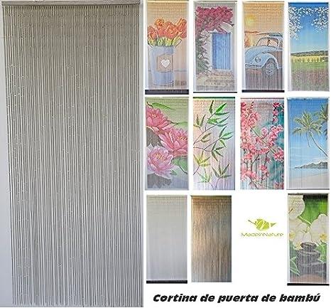 Cortina de puerta de bambú, interior y exterior, puerta interior, puerta ventana, medidas 90x200, varios modelos para elegir de MadeInNature® (Modèle 2 Classique Taupe): Amazon.es: Hogar
