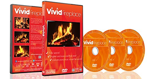 Fireplace Vivid DVD 2016 - 3 DVD Set With Extra Long Fires with Warm Colors and Sound of Burning Wood