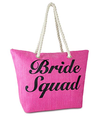BG-717-BS24 Beach Bag - BRIDE SQUAD (Hot Pink)