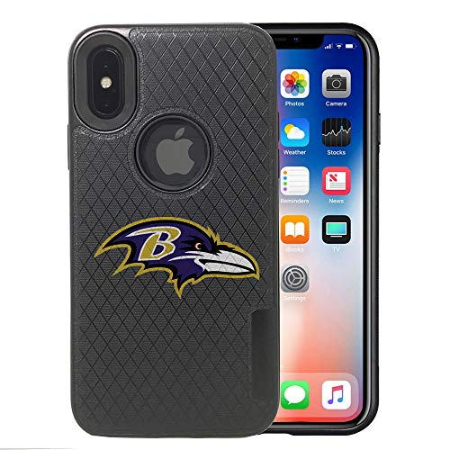 Ravens iPhone X Case, iPhone Xs Ravens Case, Ravens Carbon Fiber Pattern Anti-Scratches Non Slip Sturdy Protective Back Cover Flexible Rubber Edges, with Metal Plate Disc for Magnetic Car Mount]()