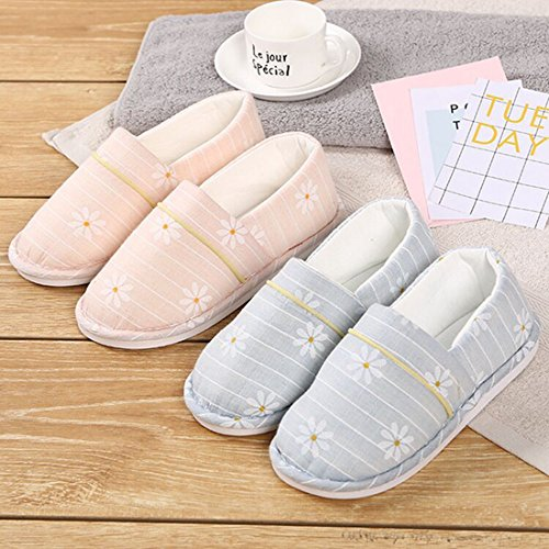Slip House Warm Cozy Cotton Thin Comfort Soles Slippers Memory Quilted Blue Foam Non Women's Clog Lacavocor UT70xRqnq