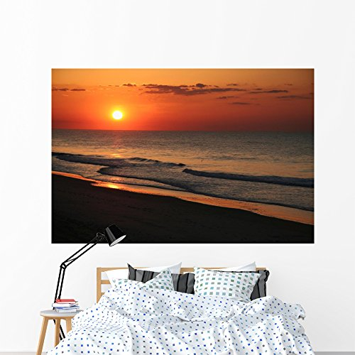 Wallmonkeys East Coast Beach Sunrise Wall Mural Peel And Stick Graphic  72 In W X 48 In H  Wm72604