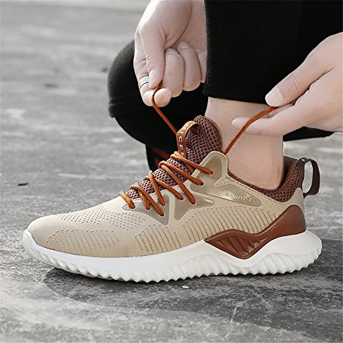 Sports Gym Athletic RZEN Lightweight Running Mens Brown Sneakers Breathable Shoes 0qORX
