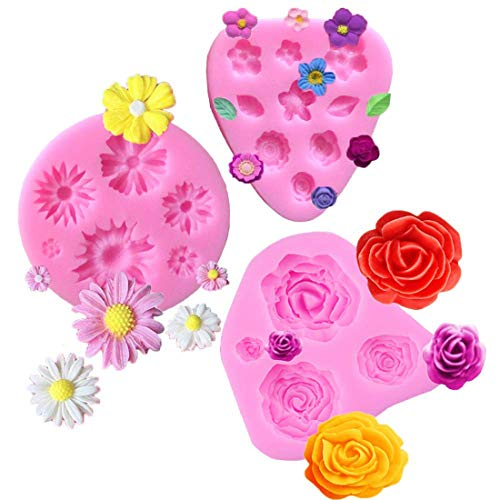 Flower Fondant Molds Mini Flower Silicone Mold Flower Daisy Mold Roses Flower Mold Flower Chocolate Molds DIY Cake Decorating Sugarcraft Baking Tool Accessories Molds (3 Pack Flower Mold) (Daisy Chocolate Molds)