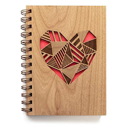 Patchwork Heart Laser Cut Wood Journal (Notebook/Birthday Gift/Gratitude Journal/Handmade) ()
