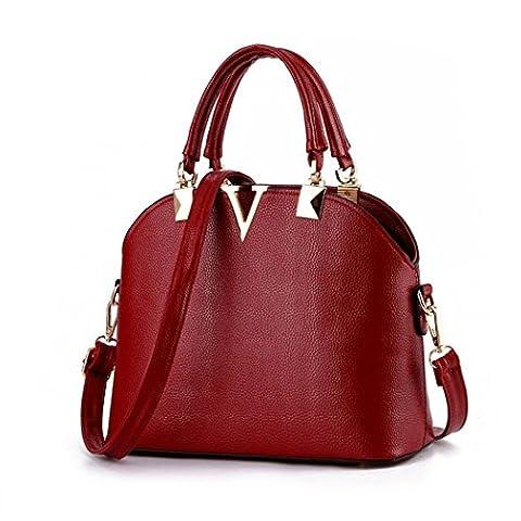 VINICIO Women's Fashionable Simple Letter V Gentlewomanly Shoulder Bag Hangbag(Red) (Alexander Wang Duffle)