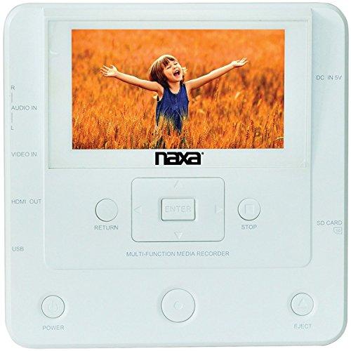 Naxa NTM-1100 DVD/USB Media Recorder with Screen, White, 10.80in. x 7.20in. x 4.00in.