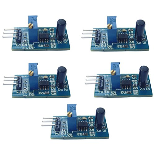 Optimus Electric 5pcs Vibration Sensor Module with LM393 Voltage Comparator Digital Output Signal 3.3V - 5V for Theft Alarms and Smart Cars from