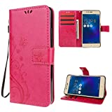 "Zenfone 3 Max Case , Leathlux [Stand Function ] Fashion Retro PU Leather Wallet Case Flip Protective Cover with Card Slots & Wrist Strap for Asus Zenfone 3 Max ZC520TL 5.2"" Red"
