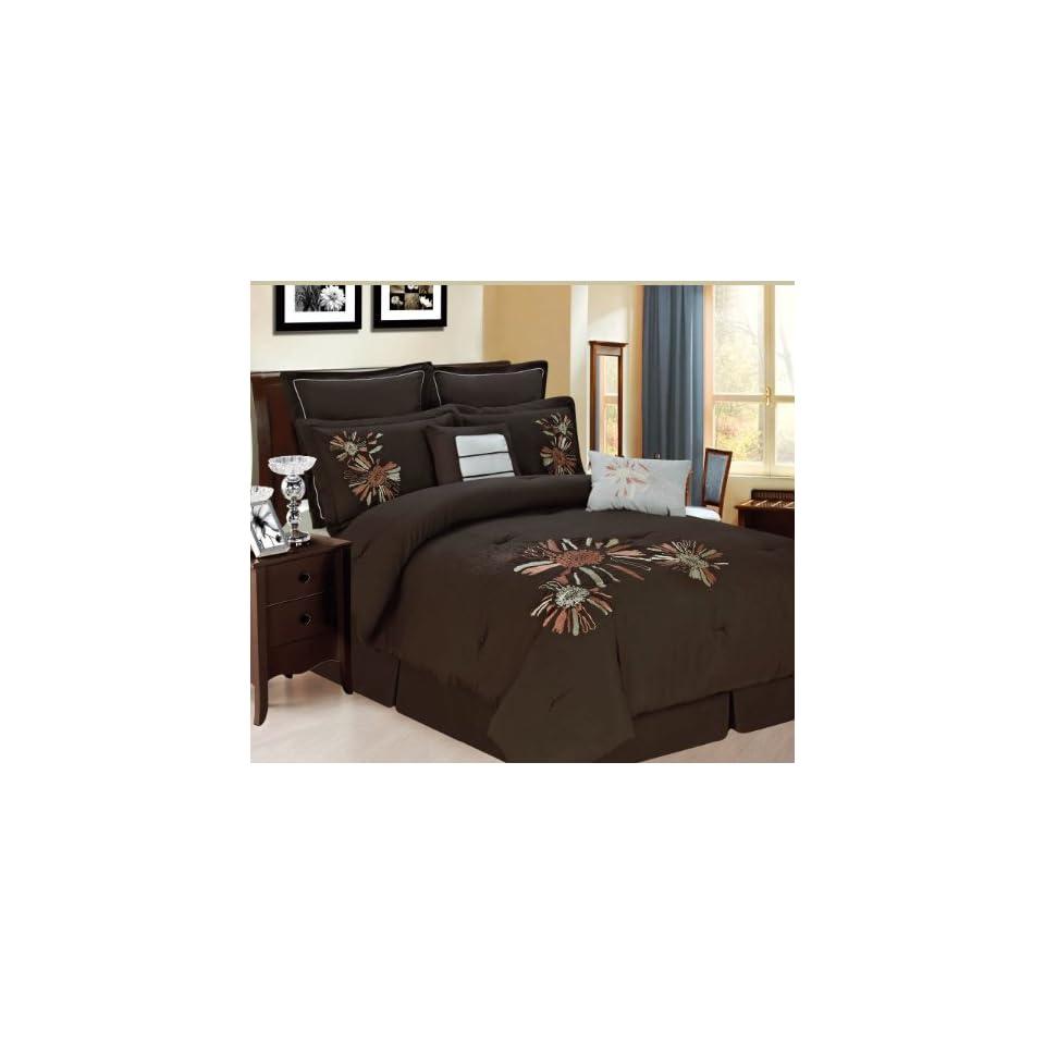 RT Designers Collection Park Avenue 8 Piece Comforter Set, Queen, Chocolate