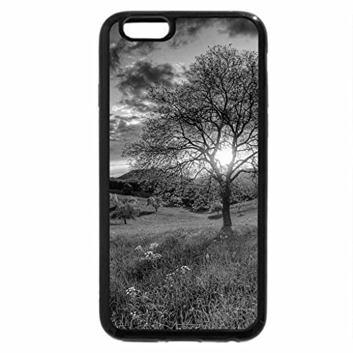 iPhone 6S Plus Case, iPhone 6 Plus Case (Black & White) - spectacular sunset over a meadow